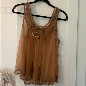 Free people sheer embellished tank